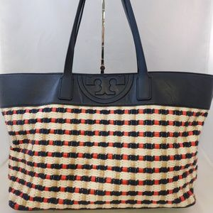 Tory Burch Straw Woven Leather Multi E/W Tote Bag
